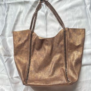 Glittery bronze bucket purse